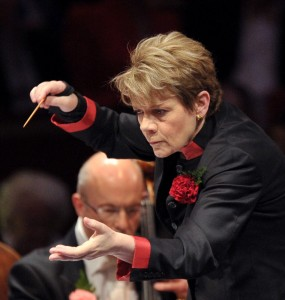 Marin Alsop conducts at the Last Night of the Proms